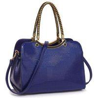 Wyjątkowa torebka damska lakierowana niebieska - niebieski