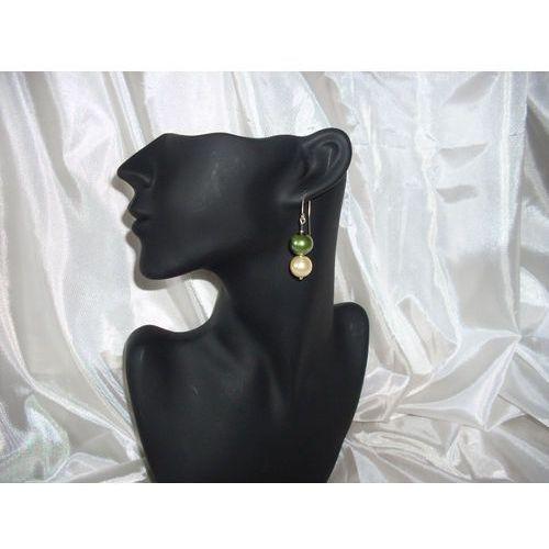 K-00001 Kolczyki z perełek szklanych oliwkowych i kremowych, 14-03-11