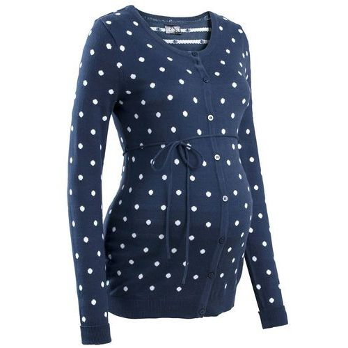 Sweter ciążowy rozpinany w kropki bonprix ciemnoniebiesko-biały w kropki, kolor niebieski