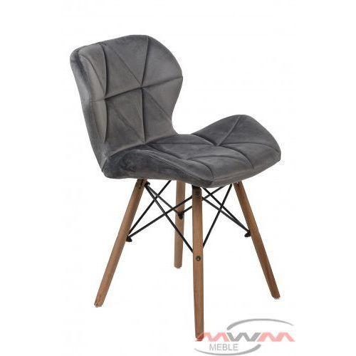 Nowoczesne krzesło skandynawskie art118 popiel welur (MebleMWM)