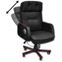 vidaXL Fotel biurowy z regulacją oparcia, wykonany czarnej, sztucznej skóry