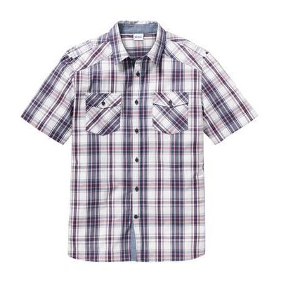 e055fd4c26ba57 Koszula z krótkim rękawem Regular Fit bonprix biało-indygo-bordowy, kolor  biały bonprix