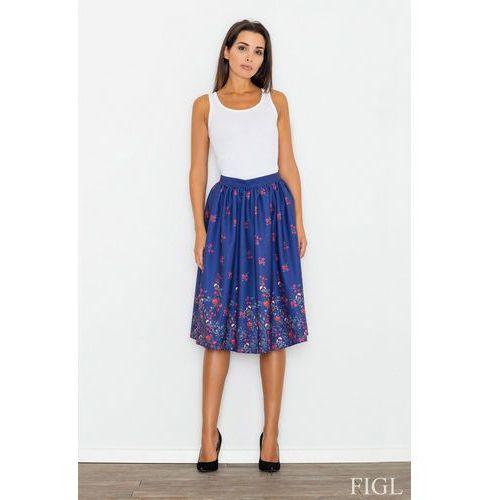 ae80c6df Niebieska Spódnica Rozkloszowana Midi w Kolorowe Kwiaty, w 3 rozmiarach  (Figl)