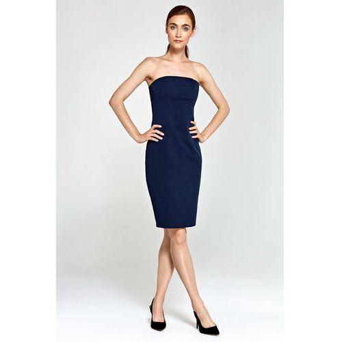 291e3ce355 Zobacz ofertę Granatowa Sukienka Wieczorowa Ołówkowa Tuba z Odkrytymi  Ramionami