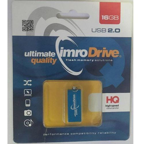 Imro pendrive edge 16gb blue usb 2.0 metallic waterproof shockproof