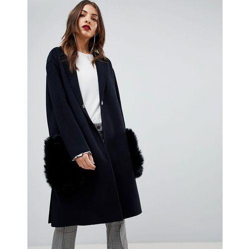 Mango faux fur pocket over coat - navy