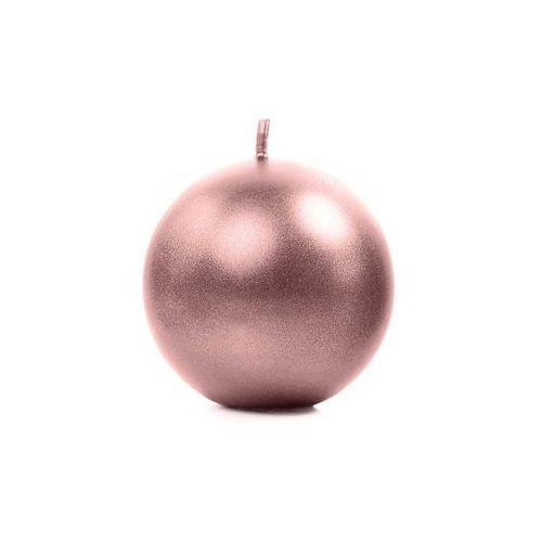 Świeca Kula metaliczna, złoty róż - 8 cm - 1 szt.