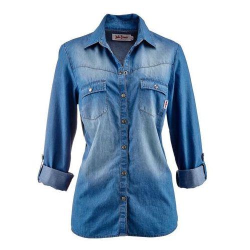 Bluzka dżinsowa z napami, długi rękaw bonprix średni niebieski, kolor niebieski