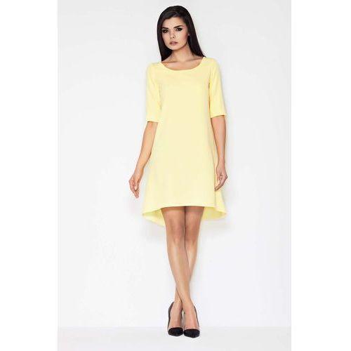 Żółta Koktajlowa Asymetryczna Sukienka z Krótkim Rękawem, koktajlowa