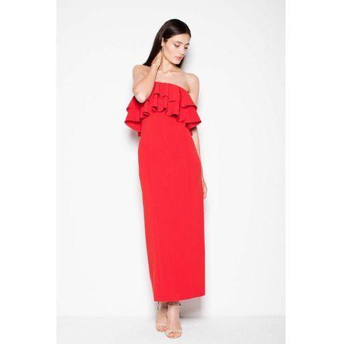 c806ba9997 Czerwona sukienka długa elegancka z falbankami (Venaton) - sklep ...