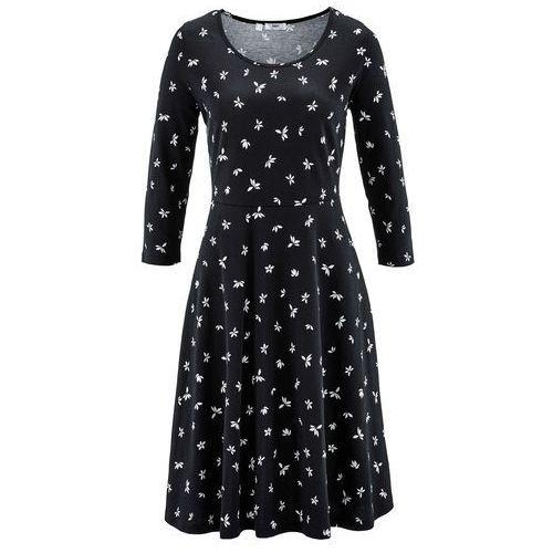 Sukienka, rękawy 3/4 bonprix czarno-biały
