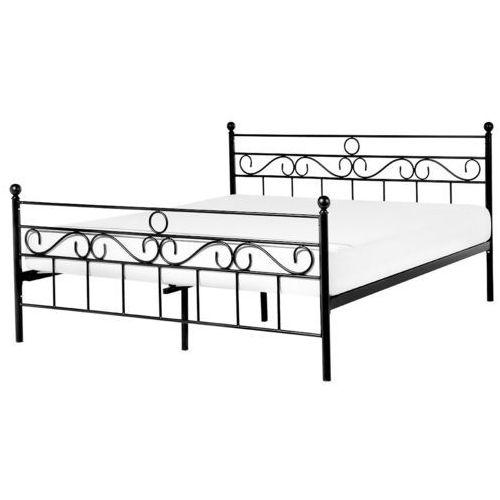 łóżko Czarne 180x200 Cm Metalowe Ze Stelażem Podwójne Lepus Beliani