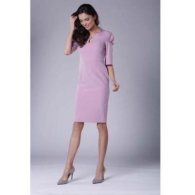 8d6639a6d4 Różowa Elegancka Dopasowana Sukienka z Drapowaniem na Rękawie MOLLY