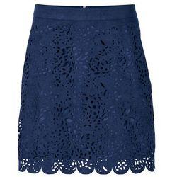 Bonprix Krótka spódnica z materiału w optyce zamszu ciemnoniebieski