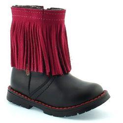 Skórzane buty zimowe dla dzieci Zarro 86/09 - Różowy ||Czarny