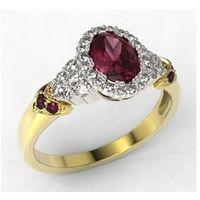 Pierścionek z żółtego i białego złota wzór LP-65ZB z rubinem i diamentami 0,32 ct., kolor czerwony