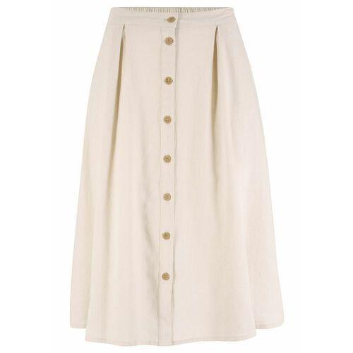 Bonprix Spódnica lniana z plisą guzikową beżowo-szary