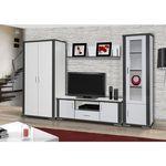 Meblotrans System grey aranżacja 01 biały zestaw mebli systemowych do salonu