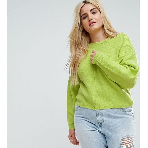 ASOS CURVE Jumper with Volume Sleeve and Cut Out Neck - Yellow