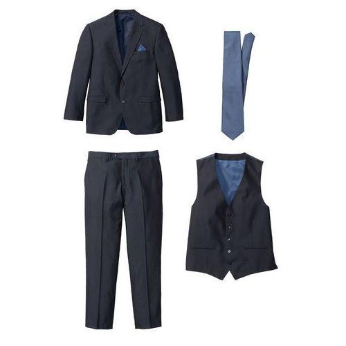 3100be03e7df0 Zobacz w sklepie Garnitur 4-częściowy (marynarka, spodnie, kamizelka i  krawat) ciemnoniebiesko-niebieski