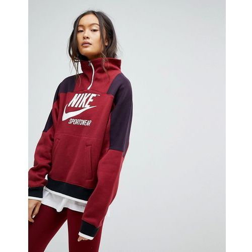 88f5b5b7a Archive Half Zip Pullover Sweatshirt In Burgundy - Red (Nike ...