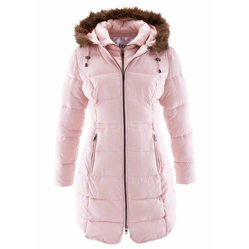 Krótki płaszcz z kapturem, na podszewce bonprix pastelowy jasnoróżowy, kolor różowy