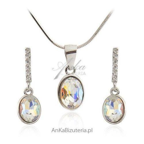 Komplet biżuterii srebrny z cyrkoniami w kolorze tęczy