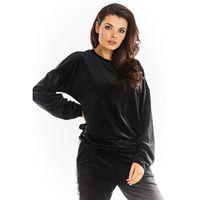 Czarna welurowa bluza z logowaną taśmą