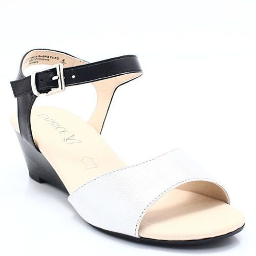 9-28213-20 srebro-czarne - sandały, Caprice