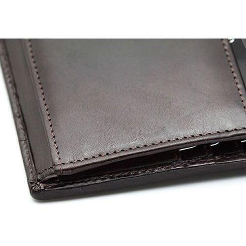 4b3c6b7e92869 skórzany męski portfel ochrona rfid dowód rejestracyjny brązowa skóra - brąz  połysk marki Koruma®