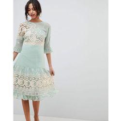 design premium crochet insert midi dress - green marki Asos