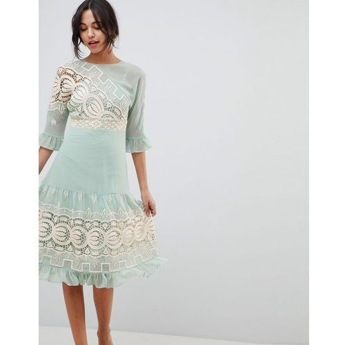 design premium crochet insert midi dress - green marki Asos