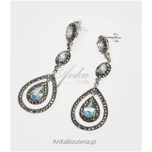 Kolczyki z markazytami i niebieskimi cyrkoniami, Anka biżuteria
