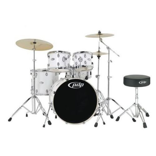 by dw drum set mainstage gloss white chrome hardware marki Pdp