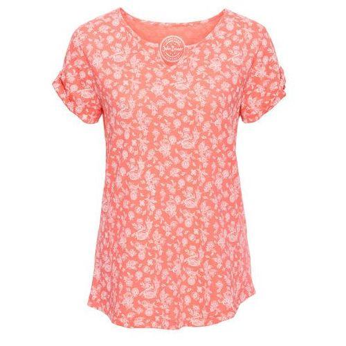 T-shirt z nadrukiem, krótki rękaw bonprix łososiowy neon, w 4 rozmiarach
