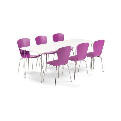 Aj produkty Zestaw mebli do stołówki zadie + milla, stół + 6 krzeseł, fioletowy