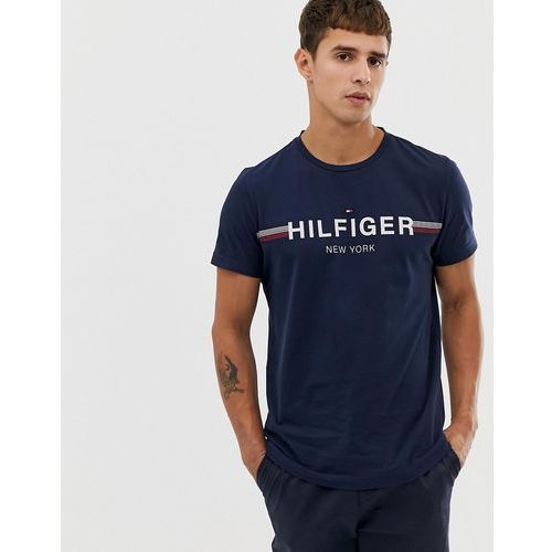 Tommy Hilfiger icon stripe chest logo t-shirt in navy - Navy, w 2 rozmiarach