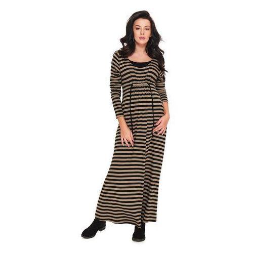 Długa jesienna sukienka ciążowa lona, 9fashion