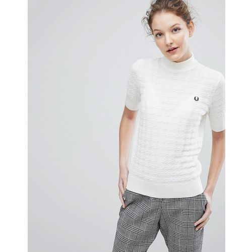 High neck houndstooth jumper - white, Fred perry