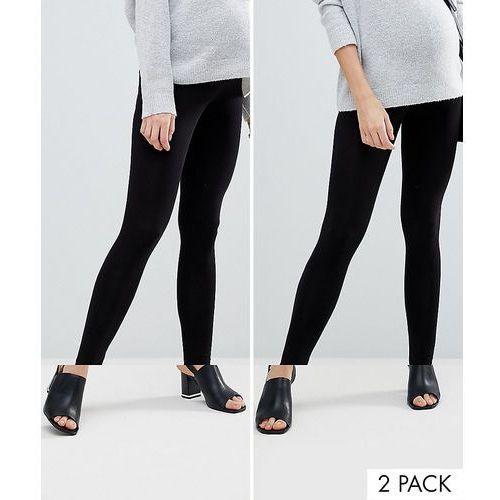 Asos maternity 2 pack over the bump high waisted leggings in black - black