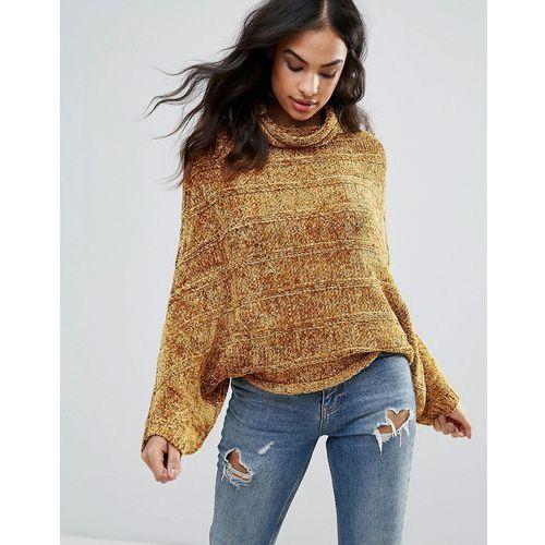 Velvet dreams wool blend roll neck jumper - gold, Free people, 38-40