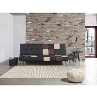 Sofa czarna - rozkładana - patchwork - wersalka - ekoskóra - OLSKER