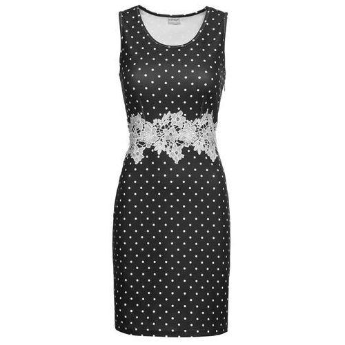 Sukienka z krepy z dżerseju, z koronkową wstawką bonprix czarno-biały w kropki, kolor czarny