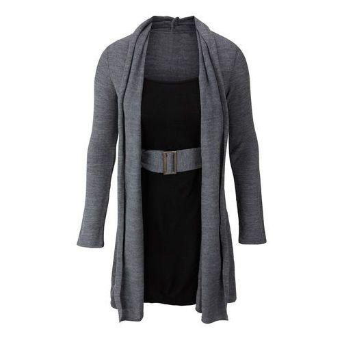 Sukienka dzianinowa z paskiem bonprix szary melanż - czarny, kolor czarny