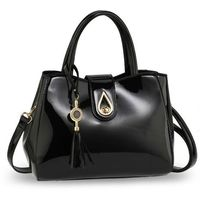 Elegancka lakierowana torebka damska czarna - czarny