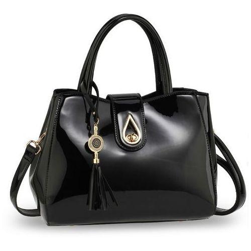 Elegancka lakierowana torebka damska czarna - czarny, kolor czarny