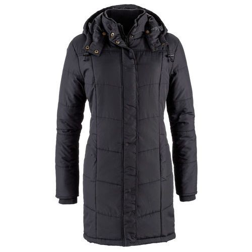 Długa kurtka pikowana, ocieplana bonprix czarny, pikowana