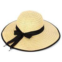 Kapelusz damski na lato słomkowy kokarda plażowy