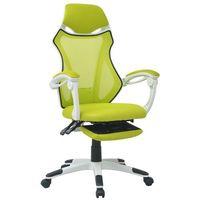 Vidaxl  krzesło biurowe z odchylanym oparciem i podnóżkiem, biało-zielone (8718476016914)