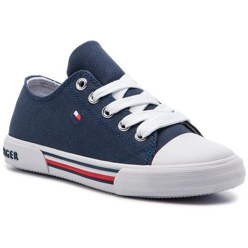 Trampki TOMMY HILFIGER - Low Cut Lace-Up Sneaker T3X4-30278-0034 M Blue 800, kolor niebieski